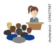female speaker doing... | Shutterstock .eps vector #1196377987