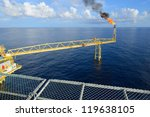 the gas flare is on the oil rig ...   Shutterstock . vector #119638105