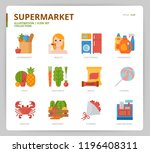 supermarket icon set | Shutterstock .eps vector #1196408311