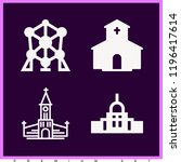 set of 4 monuments filled icons ... | Shutterstock . vector #1196417614