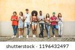multiracial friends using... | Shutterstock . vector #1196432497