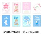 set of baby shower cards ... | Shutterstock .eps vector #1196439301