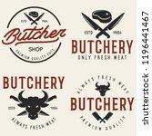 butcher shop labels badges...   Shutterstock .eps vector #1196441467