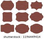 set of 9 vintage shapes wooden... | Shutterstock .eps vector #1196449414