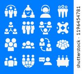 set of 16 group filled icons... | Shutterstock . vector #1196454781
