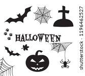 halloween set. black... | Shutterstock .eps vector #1196462527