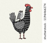 illustration with chicken and... | Shutterstock .eps vector #1196466274
