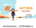 autumn holiday. young happy... | Shutterstock .eps vector #1196468611