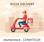 smiling pizza delivery courier. ... | Shutterstock .eps vector #1196472124