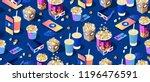 seamless pattern on dark...   Shutterstock .eps vector #1196476591