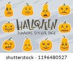 halloween pumpkins stiker pack... | Shutterstock .eps vector #1196480527