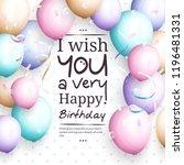happy birthday greeting card.... | Shutterstock . vector #1196481331