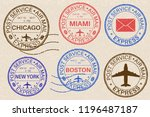 postmarks. collection of ink... | Shutterstock . vector #1196487187