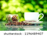 coffee cup on the table and... | Shutterstock . vector #1196489407