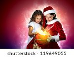Christmas illlustration of little girl with christmas gifts and santa - stock photo
