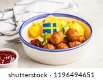 swedish traditional meatballs... | Shutterstock . vector #1196494651