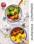 swedish traditional meatballs... | Shutterstock . vector #1196494654