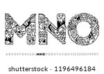 doodle alphabet letters m n o.... | Shutterstock .eps vector #1196496184