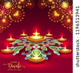 happy diwali festival card with ... | Shutterstock .eps vector #1196513941