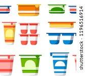 seamless pattern. set of yogurt ... | Shutterstock .eps vector #1196516914