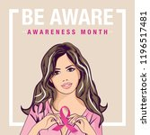 pop art woman. breast cancer... | Shutterstock .eps vector #1196517481