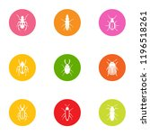 click beetle icons set. flat... | Shutterstock .eps vector #1196518261