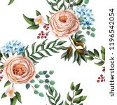 Seamless pattern with English roses and other flowers in watercolor stlyle.
