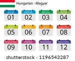 flat design of calendar months... | Shutterstock .eps vector #1196543287