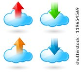 Set of Cloud with Arrows. Illustration on white background - stock vector