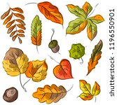 set illustration with autumn... | Shutterstock .eps vector #1196550901