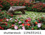 Natural Wooden Bench In The...