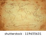 world map on old brown paper | Shutterstock . vector #119655631