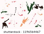 hand drawn set of colorful ink...   Shutterstock .eps vector #1196564467