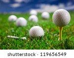 golf ball on the green grass.... | Shutterstock . vector #119656549