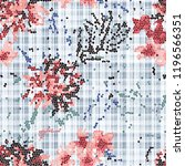 mosaic flowers on plaid... | Shutterstock . vector #1196566351