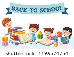 vector illustration of children ... | Shutterstock .eps vector #1196574754