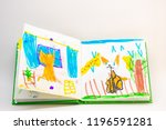 a book with children's drawings ... | Shutterstock . vector #1196591281