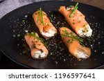 canape with smoked salmon ... | Shutterstock . vector #1196597641