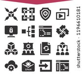 set of 16 network filled icons...