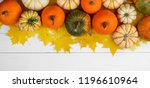 many colorful pumpkins and... | Shutterstock . vector #1196610964