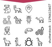 set of 16 wild outline icons... | Shutterstock . vector #1196613607