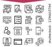 set of 16 online outline icons... | Shutterstock . vector #1196615764