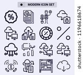 set of 16 diagram outline icons ... | Shutterstock . vector #1196618674