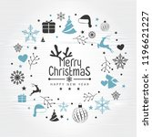 retro vintage merry christmas... | Shutterstock .eps vector #1196621227