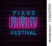 piano symbol neon. piano... | Shutterstock .eps vector #1196629354