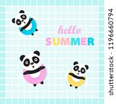 hello summer with cute panda. | Shutterstock .eps vector #1196660794