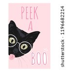 peek a boo with cat tongue out...   Shutterstock .eps vector #1196682214