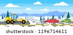 bulldozer grader cleaning... | Shutterstock .eps vector #1196714611