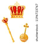 crown  scepter and orb on a... | Shutterstock .eps vector #1196723767