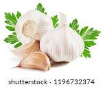 garlic with leaf. garlic... | Shutterstock . vector #1196732374